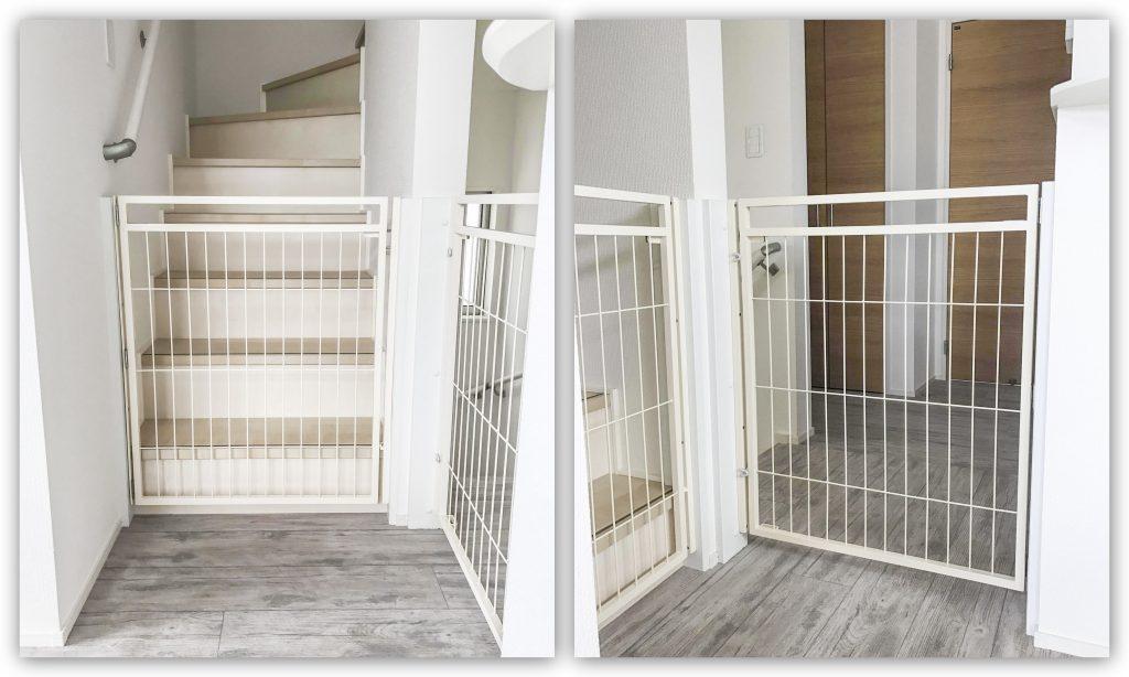おしゃれなペットゲート階段とキッチン用