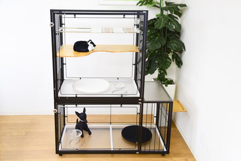 犬猫用2階建てゲージ