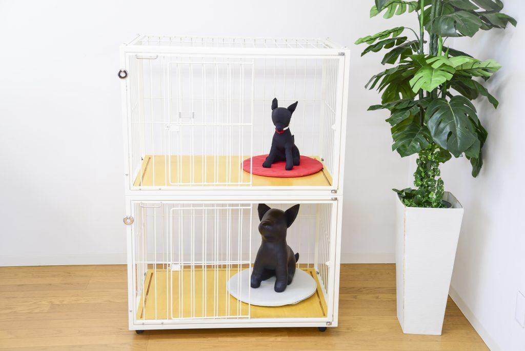 小型犬の2階建てケージ