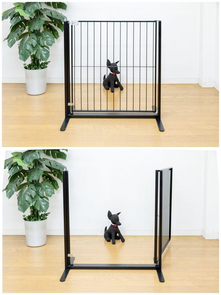 犬のドア付きオーダーゲート黒