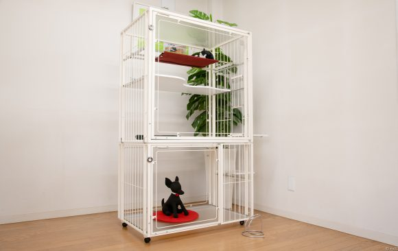 犬猫用2階建てケージ白
