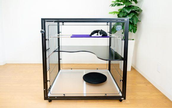 猫用おしゃれなキャットケージ黒と紫